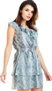 Niebieska sukienka Awama mini rozkloszowana