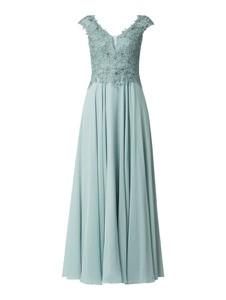 Niebieska sukienka Vera Mont z szyfonu z dekoltem w kształcie litery v