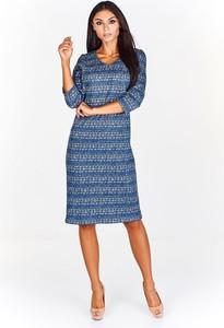 Sukienka Fokus z dzianiny z dekoltem w kształcie litery v z długim rękawem
