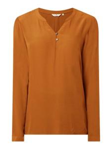 Brązowa bluzka Tom Tailor z dekoltem w kształcie litery v z długim rękawem