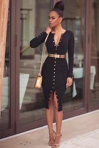 Sukienka Ivet.pl asymetryczna z dekoltem w kształcie litery v z długim rękawem