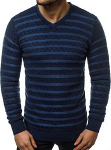 Granatowy sweter ozonee.pl z dzianiny w stylu casual