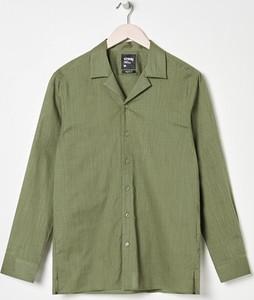 Zielona koszula Sinsay w stylu casual z długim rękawem z klasycznym kołnierzykiem