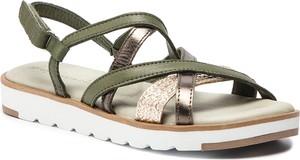 Zielone sandały Tamaris ze skóry w stylu casual z płaską podeszwą