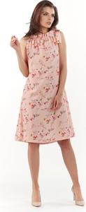 Różowa sukienka Awama trapezowa midi