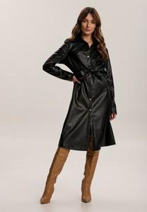 Czarna sukienka Renee midi z długim rękawem z kołnierzykiem