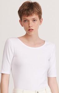 Bluzka Reserved z okrągłym dekoltem w stylu casual z bawełny