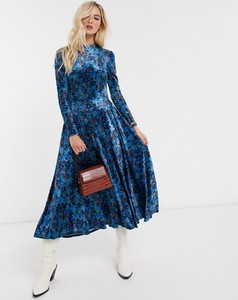 Niebieska sukienka Free People z długim rękawem
