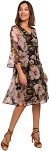 Sukienka Merg z dekoltem w kształcie litery v midi rozkloszowana