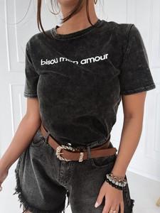T-shirt Versada z okrągłym dekoltem z bawełny z krótkim rękawem