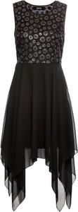 Czarna sukienka bonprix BODYFLIRT bez rękawów w stylu glamour z szyfonu