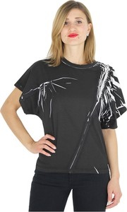 Czarny t-shirt Tela z krótkim rękawem