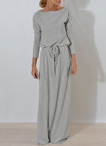 Sukienka Sandbella maxi z dresówki z długim rękawem