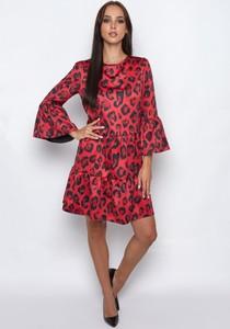 Czerwona sukienka SERERRA BUTIK mini z długim rękawem z okrągłym dekoltem