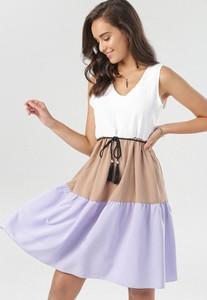 Sukienka born2be z dekoltem w kształcie litery v bez rękawów mini