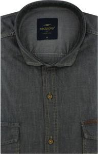 Czarna koszula Redpolo z krótkim rękawem z tkaniny