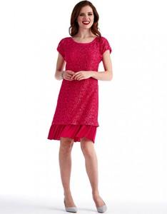 Różowa sukienka POTIS & VERSO z satyny z okrągłym dekoltem