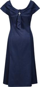 Granatowa sukienka Fokus rozkloszowana z okrągłym dekoltem z krótkim rękawem
