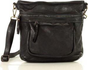 Czarna torebka Marco Mazzini Handmade ze skóry na ramię średnia