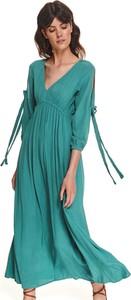 Zielona sukienka Top Secret z długim rękawem z dekoltem w kształcie litery v
