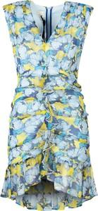 Niebieska sukienka Pinko mini z dekoltem w kształcie litery v bez rękawów