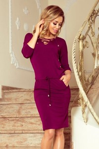 Fioletowa sukienka NUMOCO midi z okrągłym dekoltem z długim rękawem