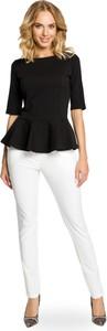 Czarna bluzka MOE w stylu casual z okrągłym dekoltem z długim rękawem