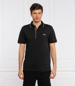 Czarna koszulka polo Hugo Boss w stylu casual z krótkim rękawem