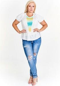 Bluzka Fokus w stylu casual z krótkim rękawem z okrągłym dekoltem