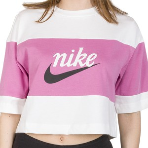Bluzka Nike z bawełny z krótkim rękawem z okrągłym dekoltem