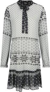 Sukienka Mytwin Twinset z długim rękawem w stylu casual z żabotem