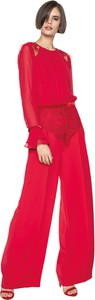Czerwona bluzka L'AF z szyfonu z długim rękawem z okrągłym dekoltem