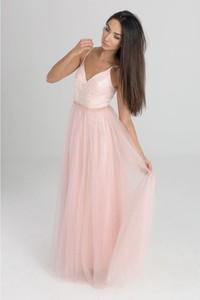 Sukienka Butik Ecru z dekoltem w kształcie litery v maxi bez rękawów