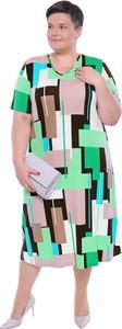 Sukienka modneduzerozmiary.pl z dekoltem w kształcie litery v dla puszystych midi