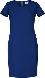 Granatowa sukienka Fokus z krótkim rękawem z bawełny