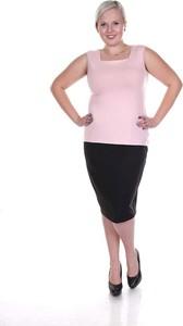 Różowa bluzka Fokus z dekoltem w karo bez rękawów w stylu casual