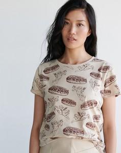 T-shirt Sinsay z nadrukiem z okrągłym dekoltem z krótkim rękawem