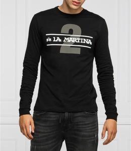 Czarna koszulka z długim rękawem La Martina z długim rękawem w młodzieżowym stylu z bawełny