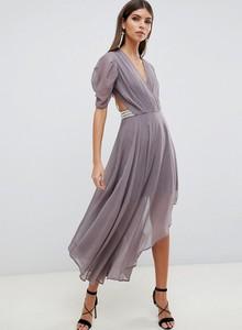 Sukienka Asos z krótkim rękawem asymetryczna maxi