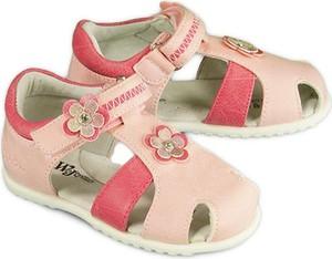 Buty dziecięce letnie Wojtyłko ze skóry w kwiatki na rzepy