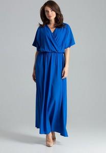 Niebieska sukienka LENITIF z dekoltem w kształcie litery v