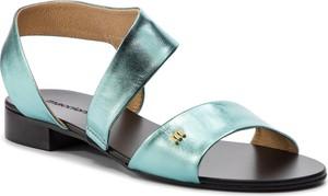 Niebieskie sandały Maccioni na obcasie w stylu casual ze skóry
