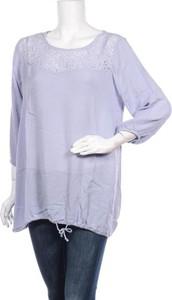 Niebieska bluzka Zizzi z okrągłym dekoltem w stylu casual z długim rękawem