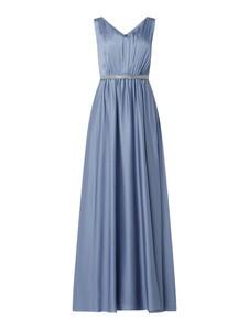 Niebieska sukienka Christian Berg Cocktail z szyfonu z dekoltem w kształcie litery v bez rękawów