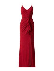 Czerwona sukienka Mascara z dekoltem w kształcie litery v maxi