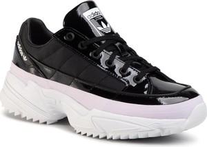Czarne buty sportowe Adidas ze skóry ekologicznej sznurowane