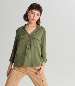 Zielona koszula Cropp z długim rękawem