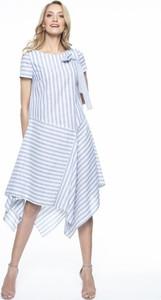 Niebieska sukienka L'AF asymetryczna midi
