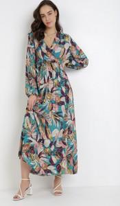 Sukienka born2be z dekoltem w kształcie litery v maxi z długim rękawem