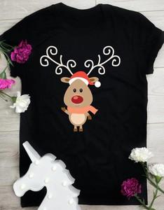 Bluzka Time For Fashion z krótkim rękawem w bożonarodzeniowy wzór z okrągłym dekoltem